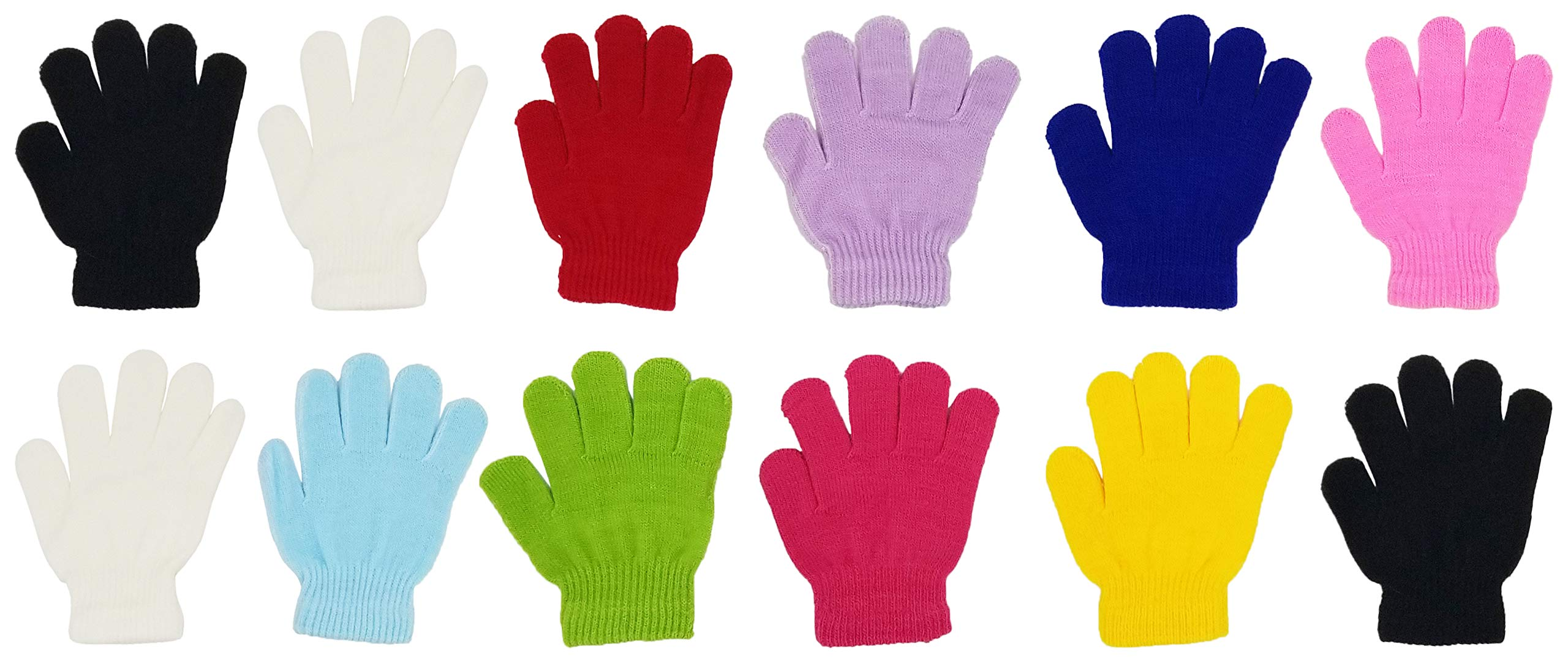 12 Pairs Winter Magic Gloves for Kids, Stretchy Warm Bulk Pack Boys Girls Children (12 Pairs Assorted Solids F)