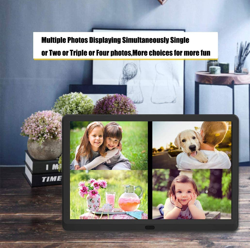 Auto Power On//Off SD Card and USB,White Music Support 1080P Video Music 1920X1080 IPS Screen Digital Photo Frame Digital Picture Frame 13 Inch