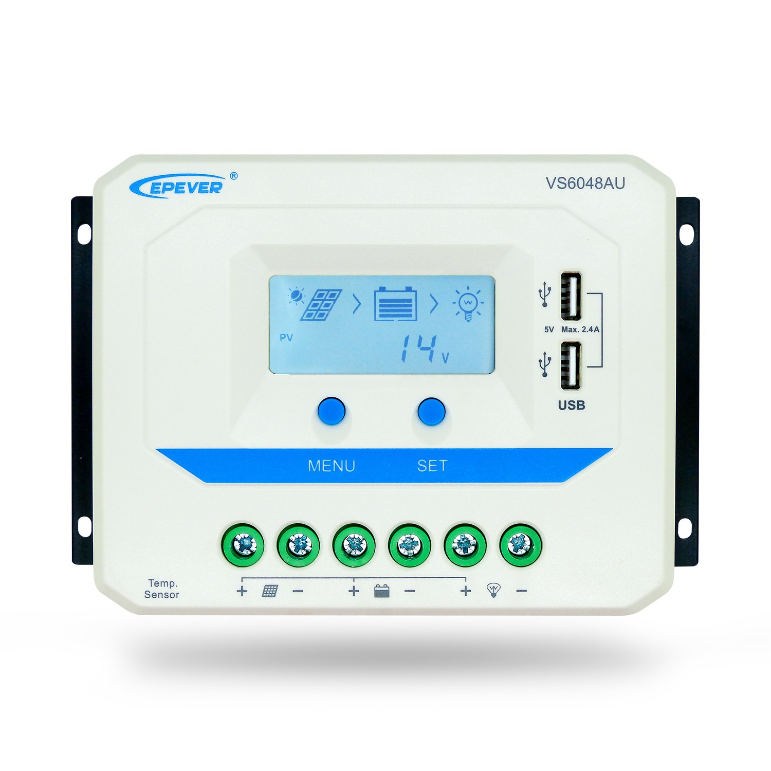 EPever 60A Solar Charge Controller VS6048AU with Dual USB Output, 12V/24V/36V/48V Auto with LCD Display for Solar Panel Battery Charging System (60A, VS6048AU)