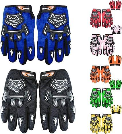 L - 7cm Leopard Kinder Motocross Blau Handschuhe und Brille Cross Motorrad Quad Off-Road f/ür Youth