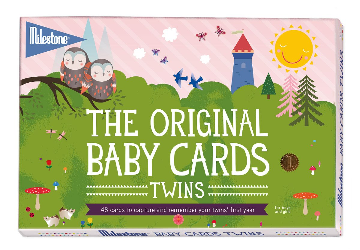 Milestone - Baby Photo Cards Original - Twins - Set of 48 Photo Cards to Capture Your Twins' First Year in Weeks, Months, and Memorable Moments MBCT