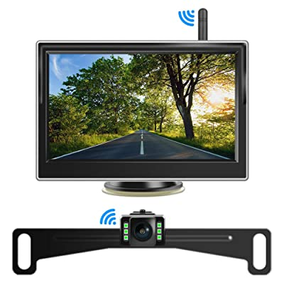 Digital Wireless Backup Camera Kit, Niloghap Universal 5 inch LCD Monitor and Night Vision IP68 Waterproof Reverse Parking Front/Rear View Camera Set for Car, SUV, RV, Pickup, Truck, Van, Camper: Car Electronics