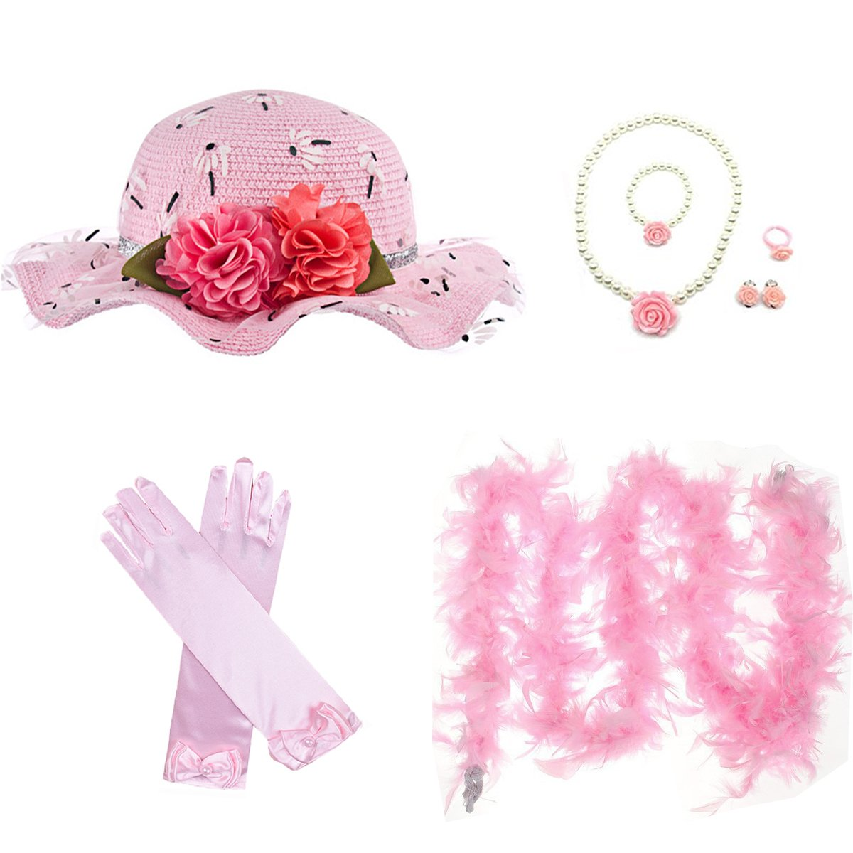 GILAND Girls Tea Party Set Dress Up Play Sunhat, Feather Boa, Gloves and Jewelry (Light Pink)