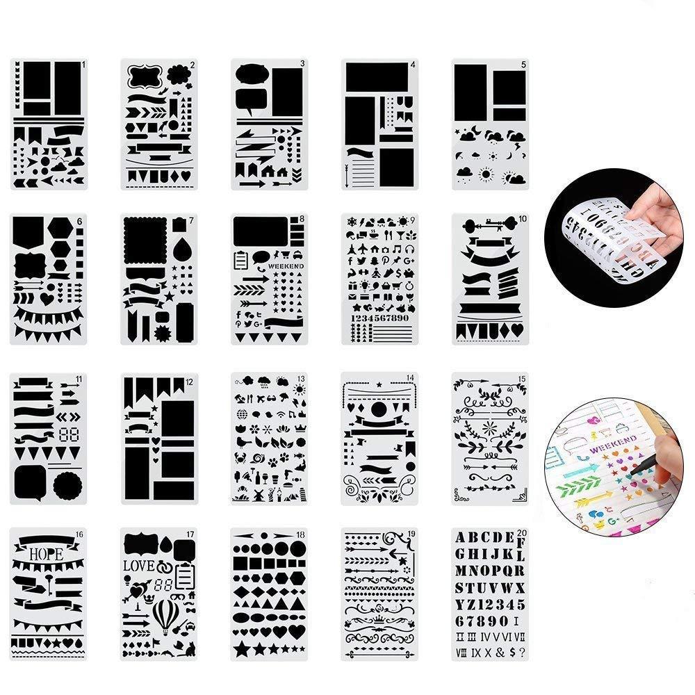 Set di 20 Stencil Pittura Kit Journal Bullet Stencil in Plastica Drawing Template 18x10.8cm over 1000 Diversi Disegni Plastic Planner per Notebook Diary Scrapbook Art Progetti Creativi fai da te Ponangaga