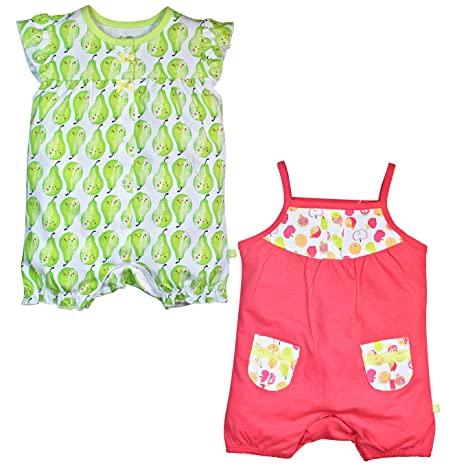 baae0b14197 Mini Klub Girls Pack of 2 Rompers  Amazon.in  Baby