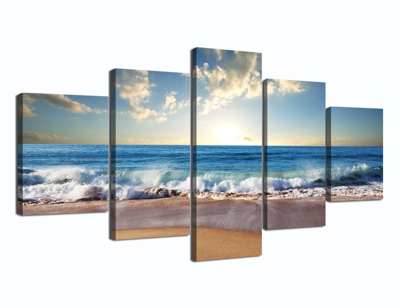 Ocean_01 Medium Size Scene of Sea Waves Palm Tree Landscape Picture Modern Painting on Canvas 5 Piece Framed Wall Art for Living Room Bedroom Kitchen Home Decor Stretched Gallery Canvas Wrap Giclee Print (60''W x 32''H)