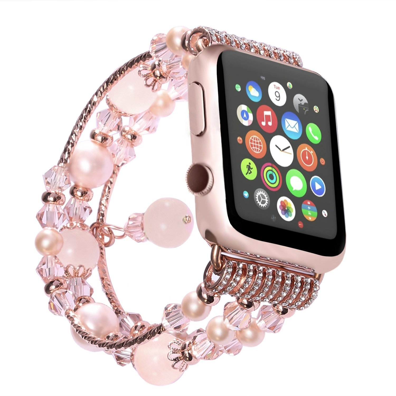 Apple Watch Band , ANGGO Fashion Elastic Stretch iwatch Strap Replacement iWatch Band Faux Pearl Natural Agate Stone Bracelet for Apple Watch Series 3 Series 2 Series 1 All Version (38mm / Pink)