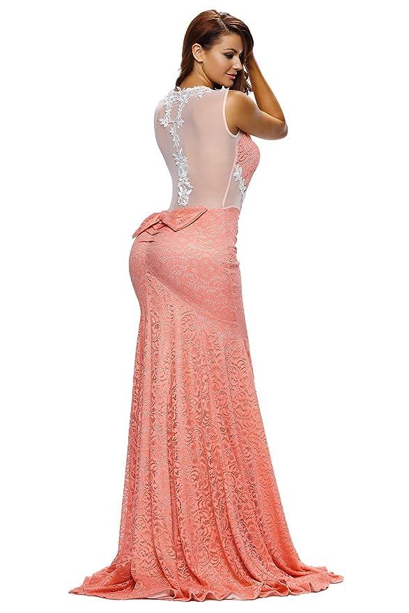 Vestido largo naranja y beige con diseño floral y de encaje, vestido ...