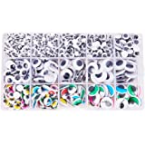 PandaHall Elite Assorted Sizes Mixed Colors Self Adhesive Wiggle Googly Eyes Diameter 4-15mm DIY Scrapbooking Crafts Toy Accessories