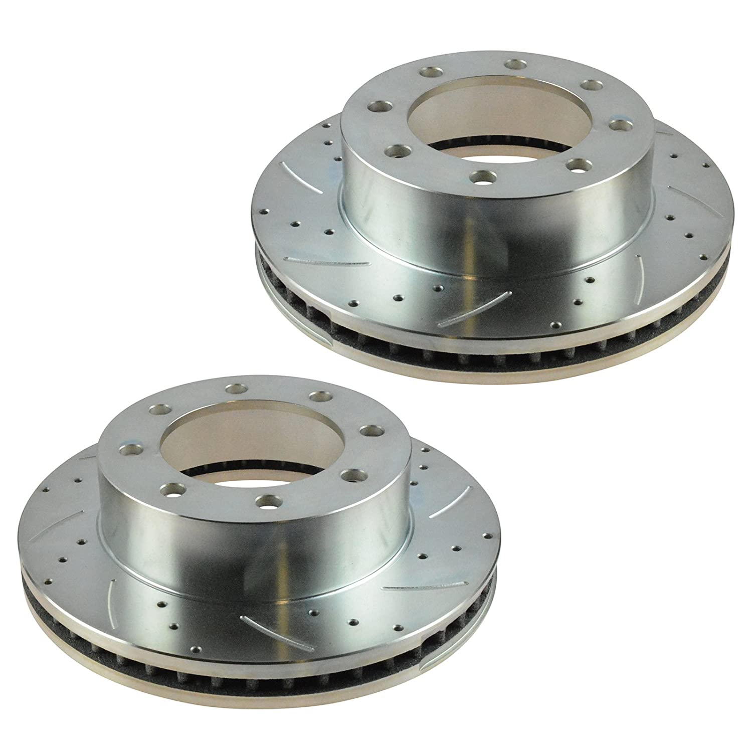 Performance Brake Rotor Drilled Slotted Front Coated Pair for Ford F250