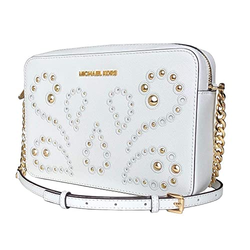 Michael Kors Jet Set Item Large Leather Crossbody Bag Optic White