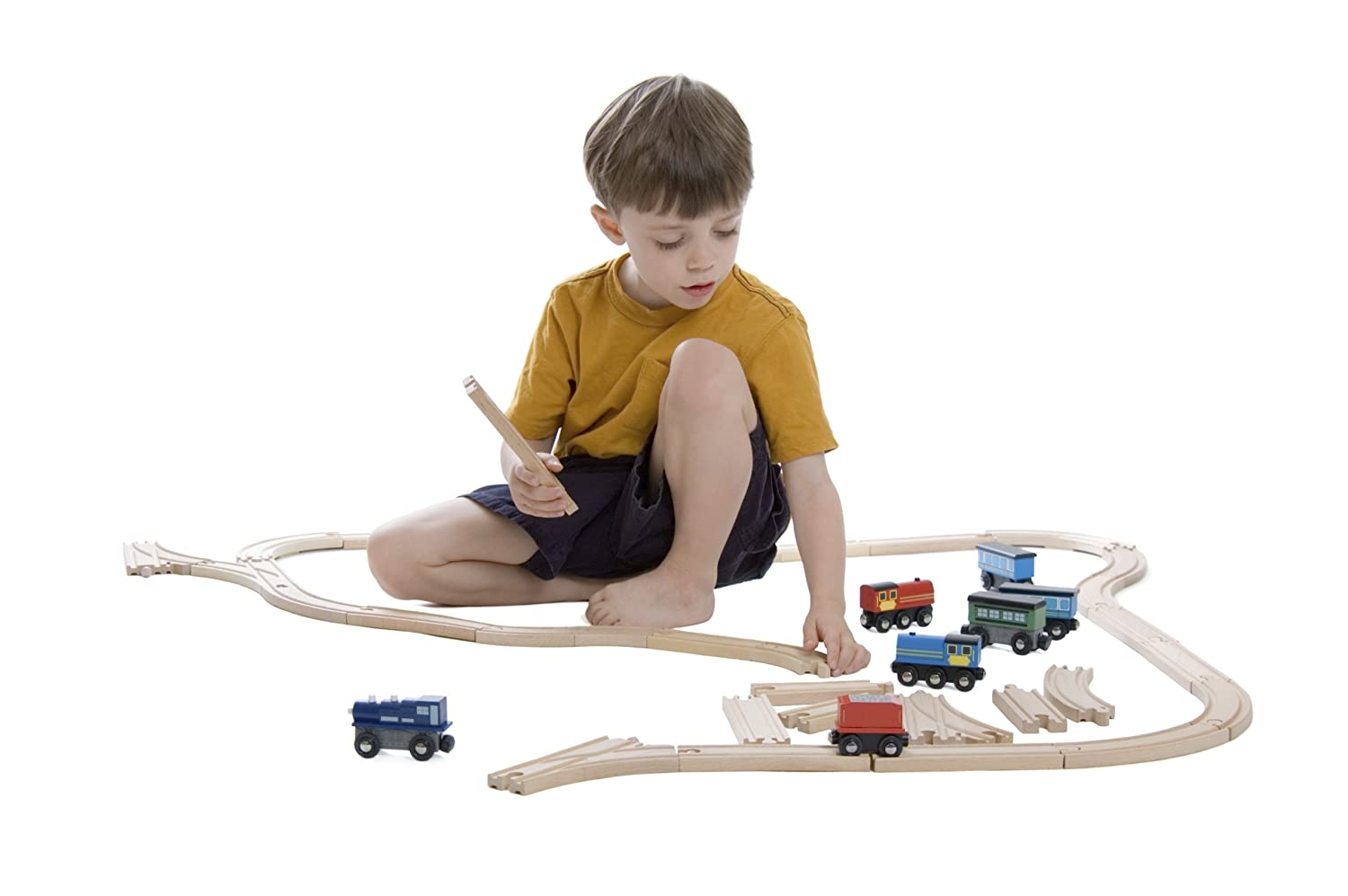 By Kids Destiny 110 Pieces 100/% Compatible with All Major Brands Including Thomas Train Wooden Railway System Wooden Train Track Deluxe Set