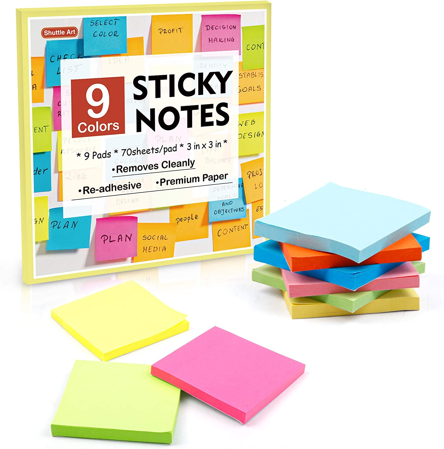 Sticky Notes, Shuttle Art 9 Bright Colors Stickies, 9 Pads 630 Sheets Total, 3x3 Inches Self-Stick Pads for Home, School, Office