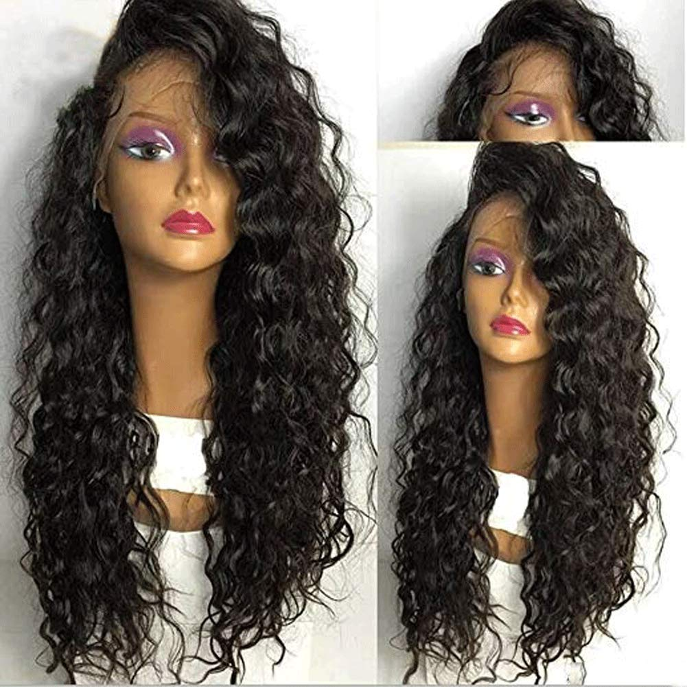 360 Lace Wig Human Hair Curly für Black Women Brazilian Virgin Hair Glueless 360 Lace Frontal Human Hair Wigs Deep Wave Pre Plucked mit Baby Hair Natural Color 130% Density 20Inch