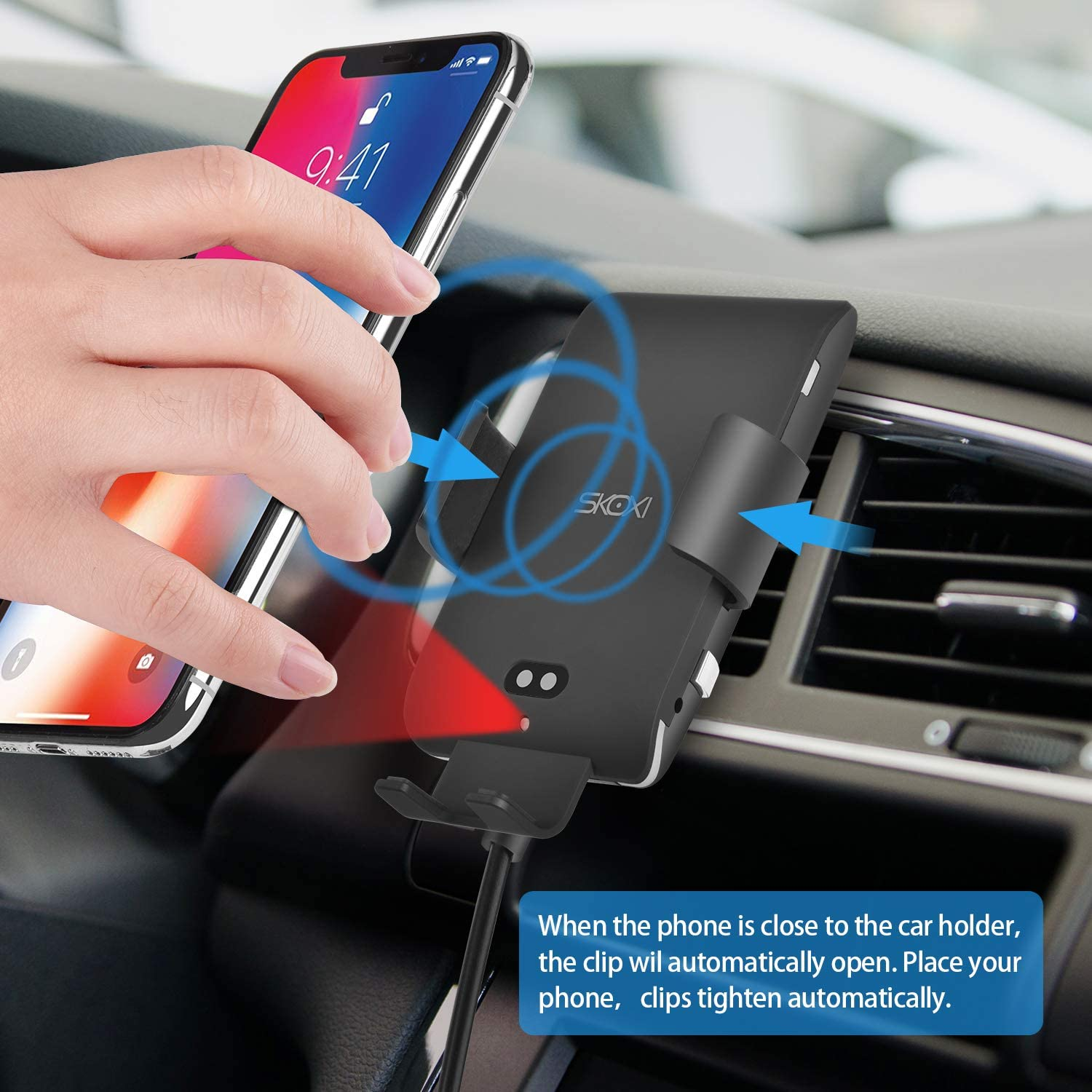 SKOXI Wireless Car Charger,10W//7.5W Qi Fast Charger Auto Clamping Infrared Sensor Car Mount,Windshield Dashboard Air Vent Phone Holder for iPhone Xs MAX//XS//XR//X//8//8+ Samsung S10//S10+//S9//S9+//S8//S8+