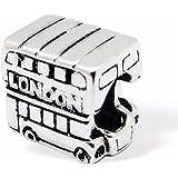 """Silvadore argent-Double Decker véhicule London Bus Souvenir symbole de l'Angleterre-Angleterre 925 Sterling - 712 3D Glissez le Bracelet Pandora """"Boîte cadeau incluse"""