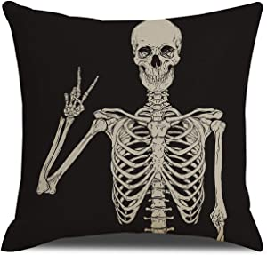 QIQIANY Skull Skeleton Decoration Pillow Covers 18x18 Inches Square Cotton Linen Goth Decor Black Cushion Cover Throw Pillowcase for Kitchen Sofa Bedroom