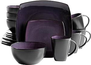 Gibson Home Soho Lounge 16-Piece Dinnerware Set, Purple