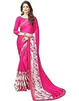 Texstile Women'S Lycra Saree With Blouse Piece (# Pink_Lycra_Pink Beige)