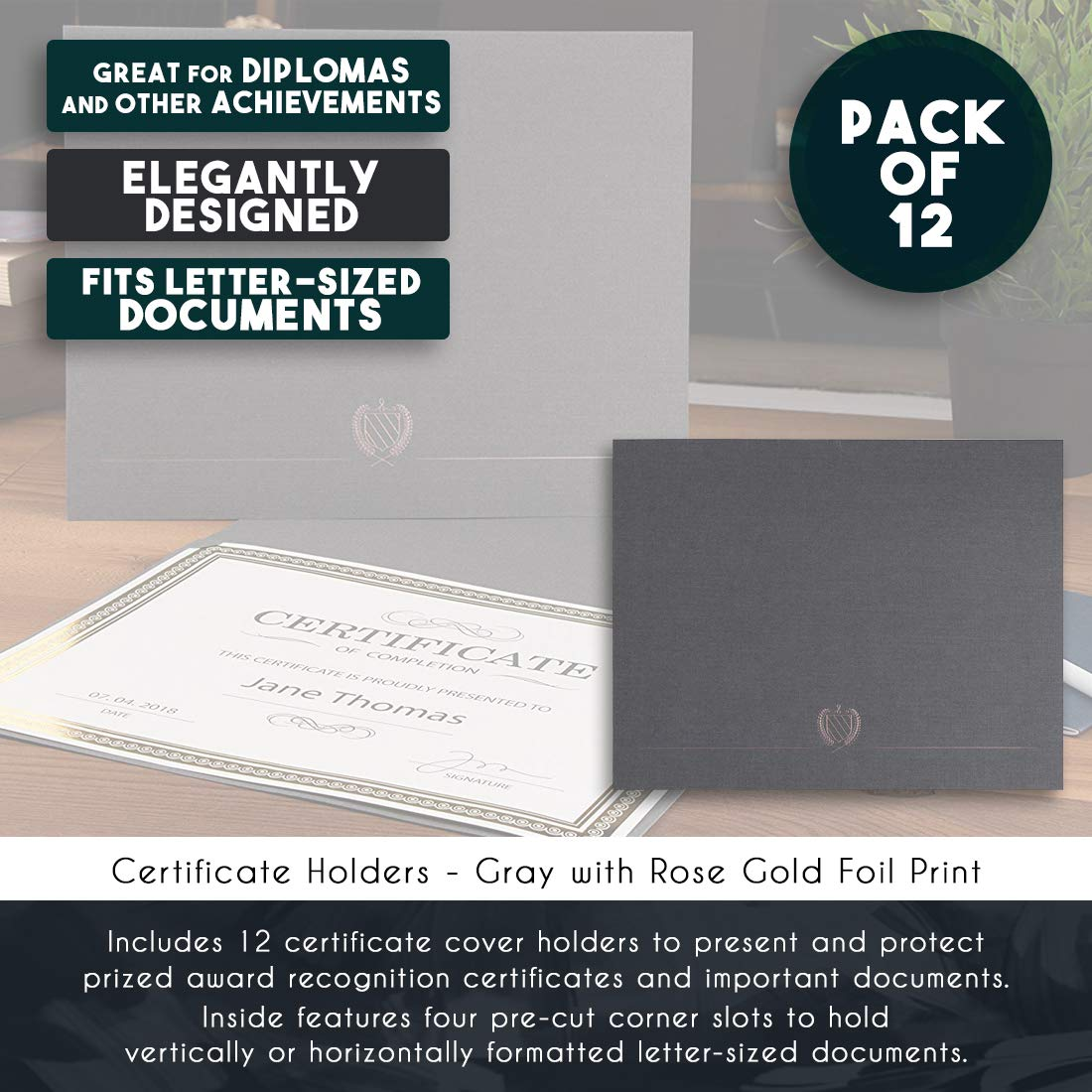 300 GSM 12-Pack Diploma Cover Gray Document Cover for Letter-Sized Award Certificates 11.2 x 8.8 Inches Rose Gold Foil Print Certificate Holder