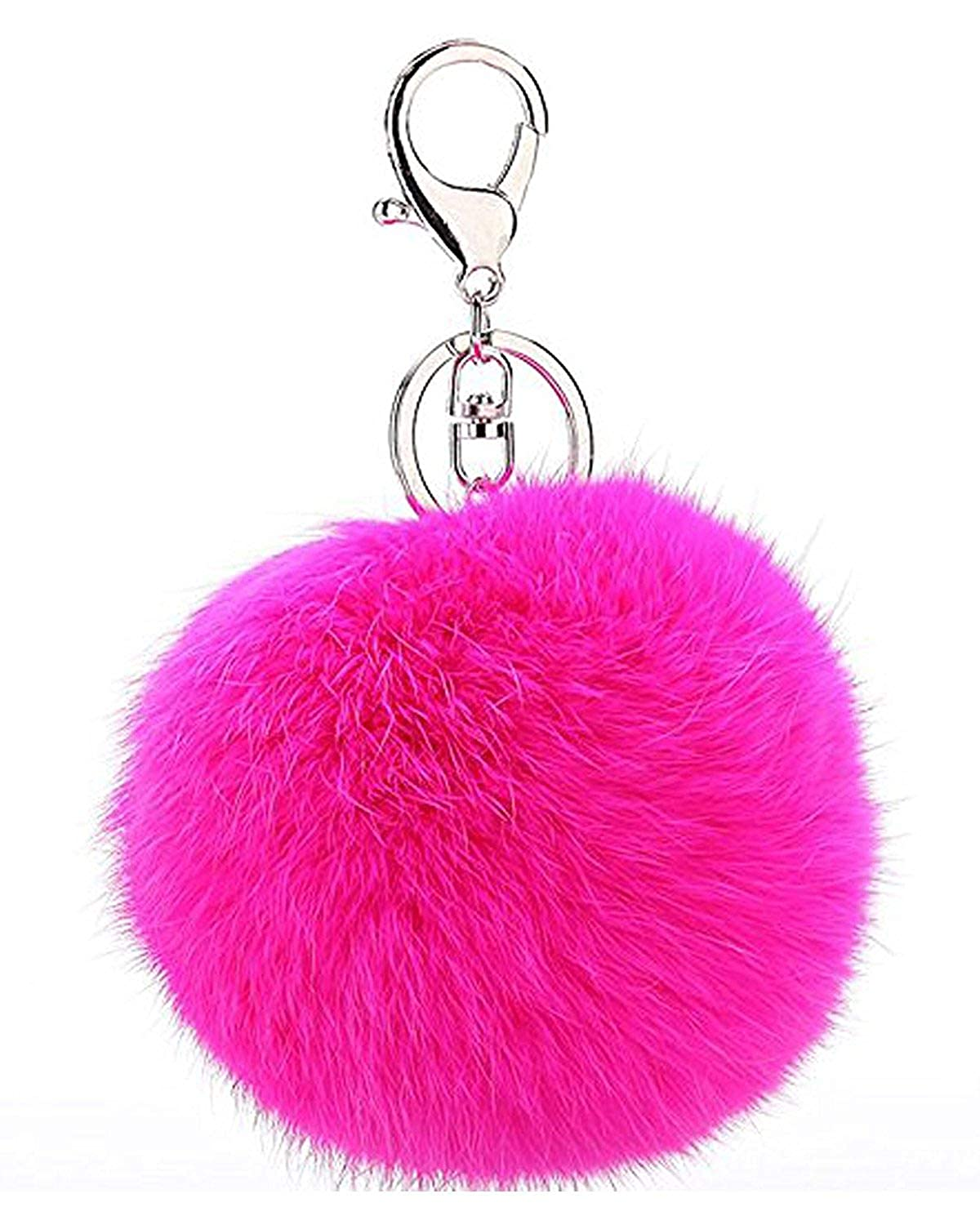 Buy Young   Forever Royal Closet Pink Fur Ball Keychain for Men and Women  (Silver) Online at Low Prices in India  467fb33de7