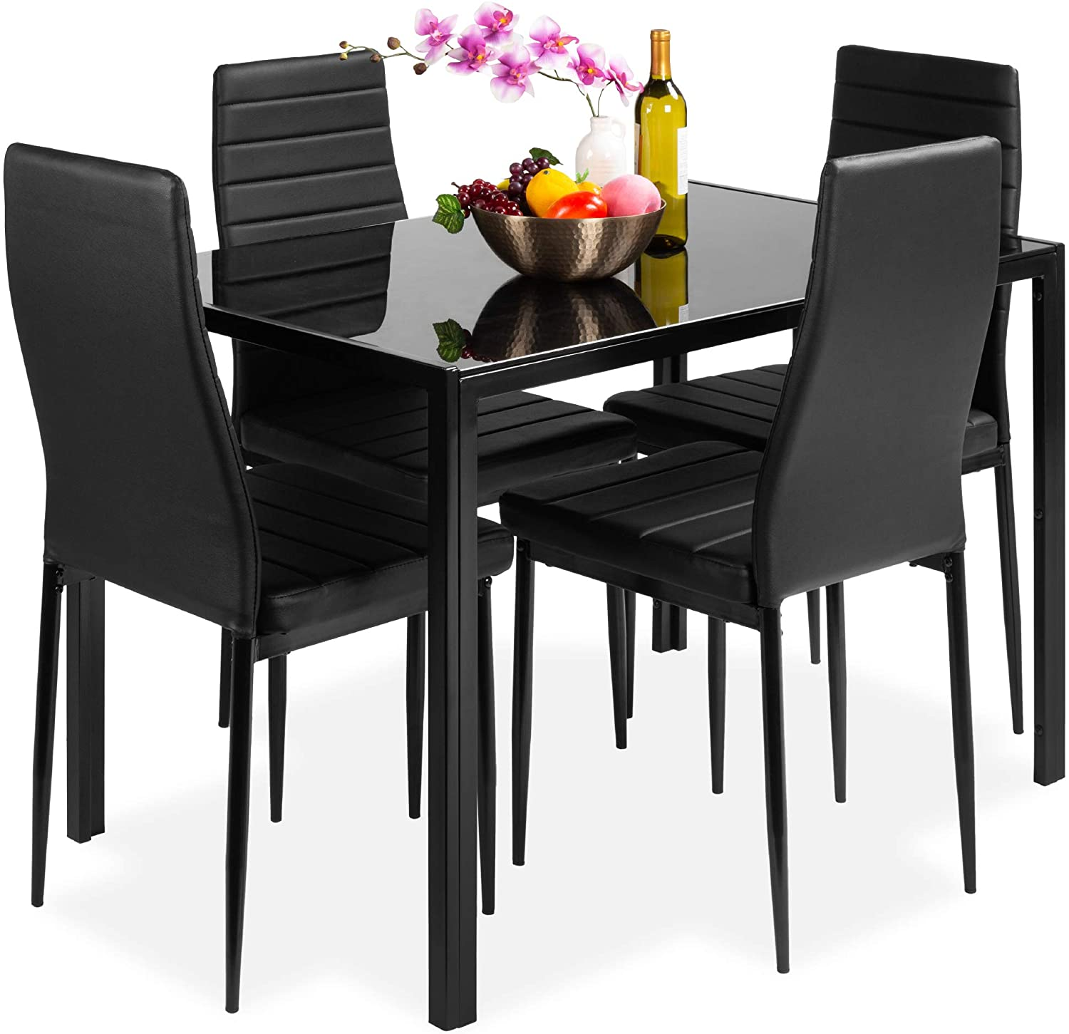 Best Choice Products 5-Piece Kitchen Dining Table Set for Dining Room, Kitchen, Dinette, Compact Space w/Glass Tabletop, 4 Faux Leather Metal Frame Chairs - Black - Table & Chair Sets