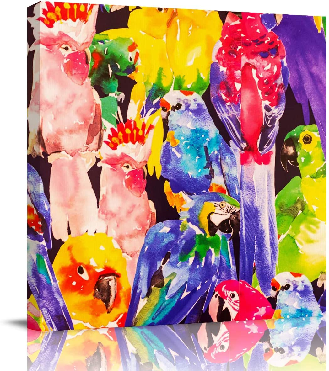Canvas Wall Art – Hand Painted Style Colorful Parrot Wall Decor Paintings Pictures for Living Room Modern Artwork Stretched and Framed Ready to Hang 24 x 24
