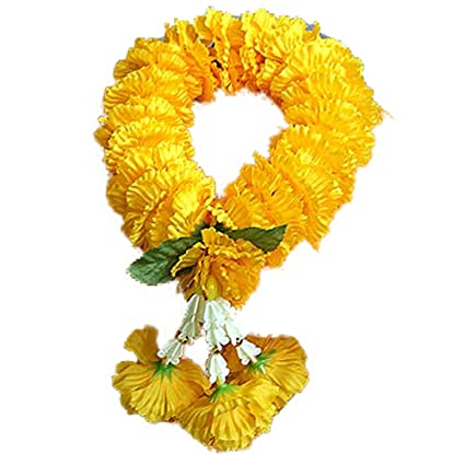 Amazon thai artificial yellow marigold garland marigold thai artificial yellow marigold garland marigold flowers flowers artificial flowers fake length mightylinksfo Gallery