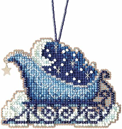 Christmas Celestial Sleigh Ride Charmed Ornaments Cross Stitch Kit Mill Hill