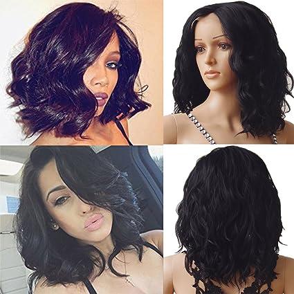Nuevo pelo sintético corto Bob estilo peluca Lace Front Natural Wave ondulado peluca de encaje para