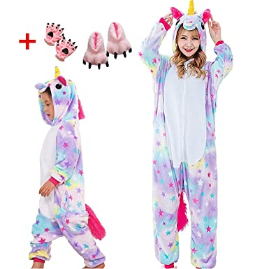 43f6d4a6804f Yanekop Unisex Adult Child Onesie Pajamas Stitch Animal Sleepwear Unicorn  Costume(Star Unicorn-Child