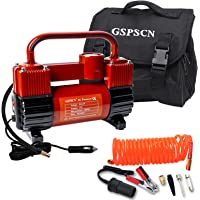 $59 » GSPSCN Red Tire Inflator Heavy Duty Double Cylinders, Portable Metal DC 12V Air…