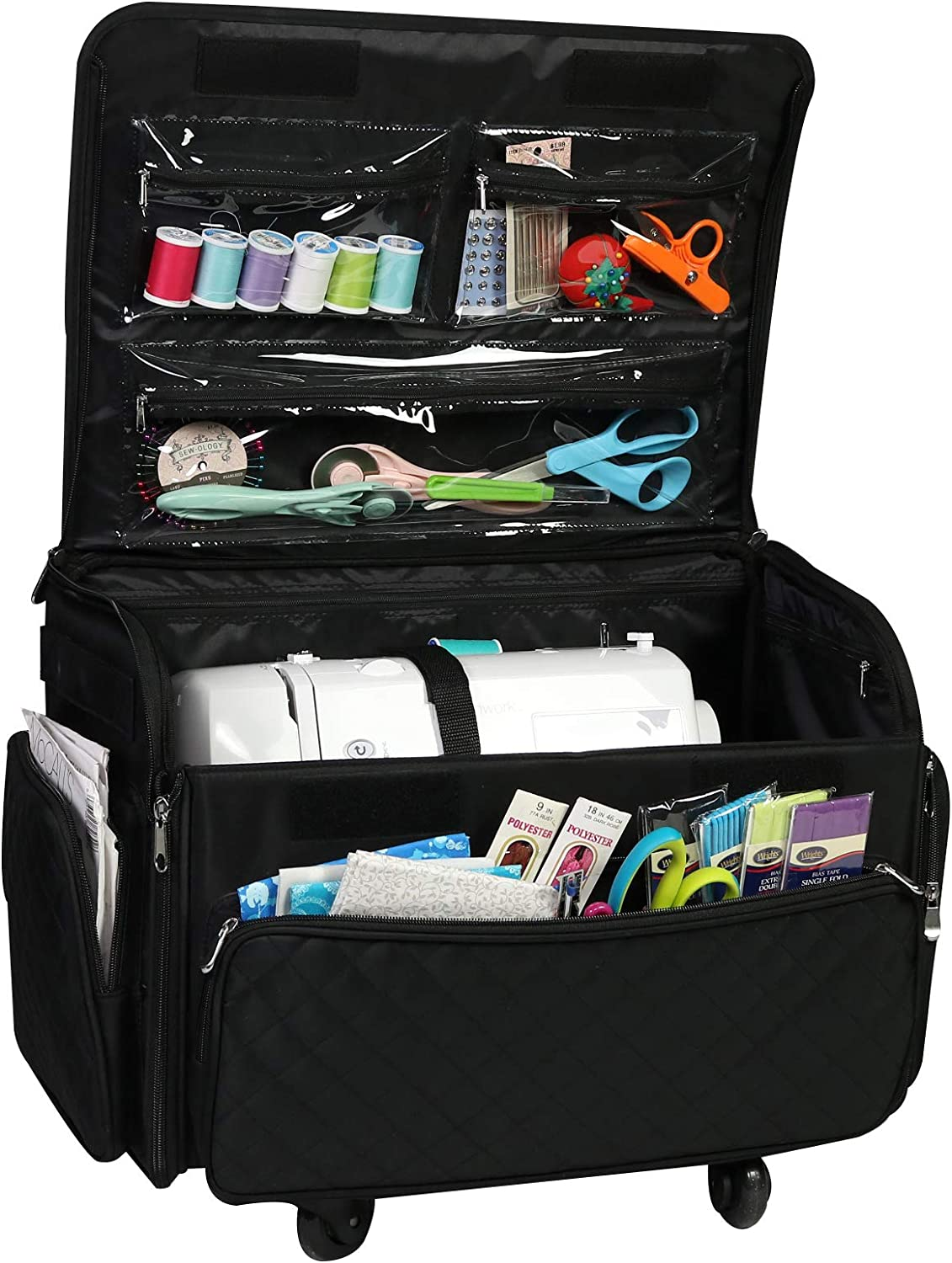 4 Wheels Collapsible Deluxe Sewing Machine Storage Case