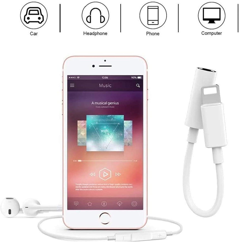 Blanc 【2 Pack】 Adaptateur Casque pour iPhone 11 Adaptateur Jack 3,5 mm Adaptateur Casque R/épartiteur Compatible avec iPhone 11//11 Pro//X//XR//XS//8//8Plus//7//7Plus Aux Audio Connecteur C/âble pour Tous iOS