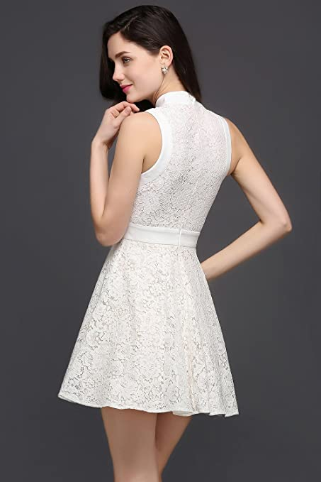 01318fd050b75 Babyonlinedress Vestido corto de fiesta de boda vestido blanco de estilo  elegante y ajustado diseño vintage para dama de honor vestido clásico talla  34  ...