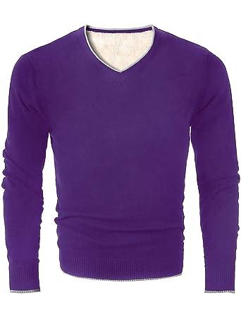 7cf2f6bb8a51 MOCOTONO Men s V Neck Fleece-Lined Pullover Cotton Sweater Casual ...