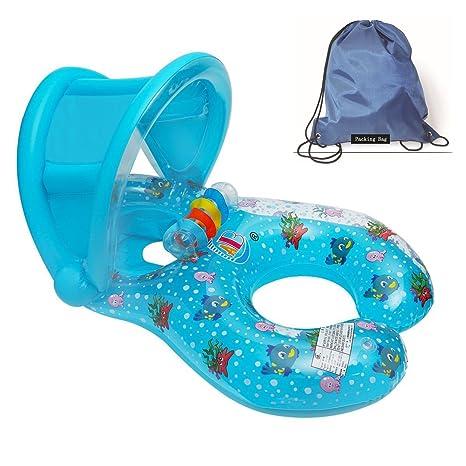 Flotadores hinchables para dos personas (mamá y bebé), piscina hinchable retráctil y extraíble, flotador de piscina para bebé, asiento flotante para ...