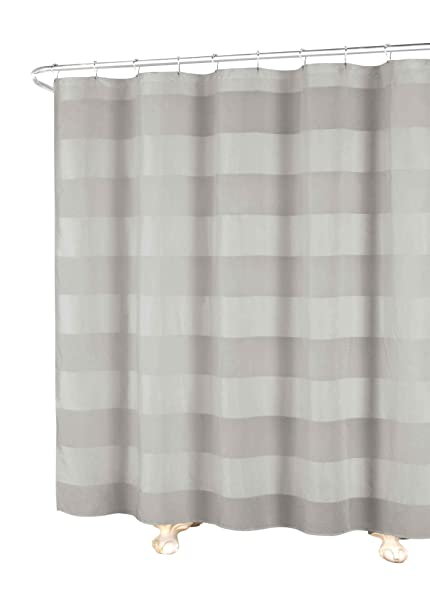 c2f35ad8640 Image Unavailable. Image not available for. Color  Bathroom and More Gray  Fabric Shower Curtain Wide Stripe ...