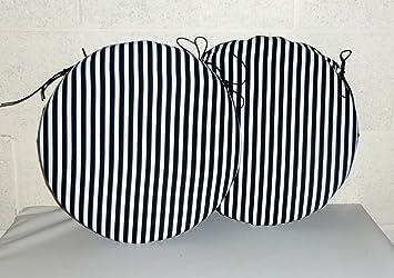 Zippy (TWIN PACK) Black U0026 White Striped   13u0026quot; Round Dining Chair  Cushion