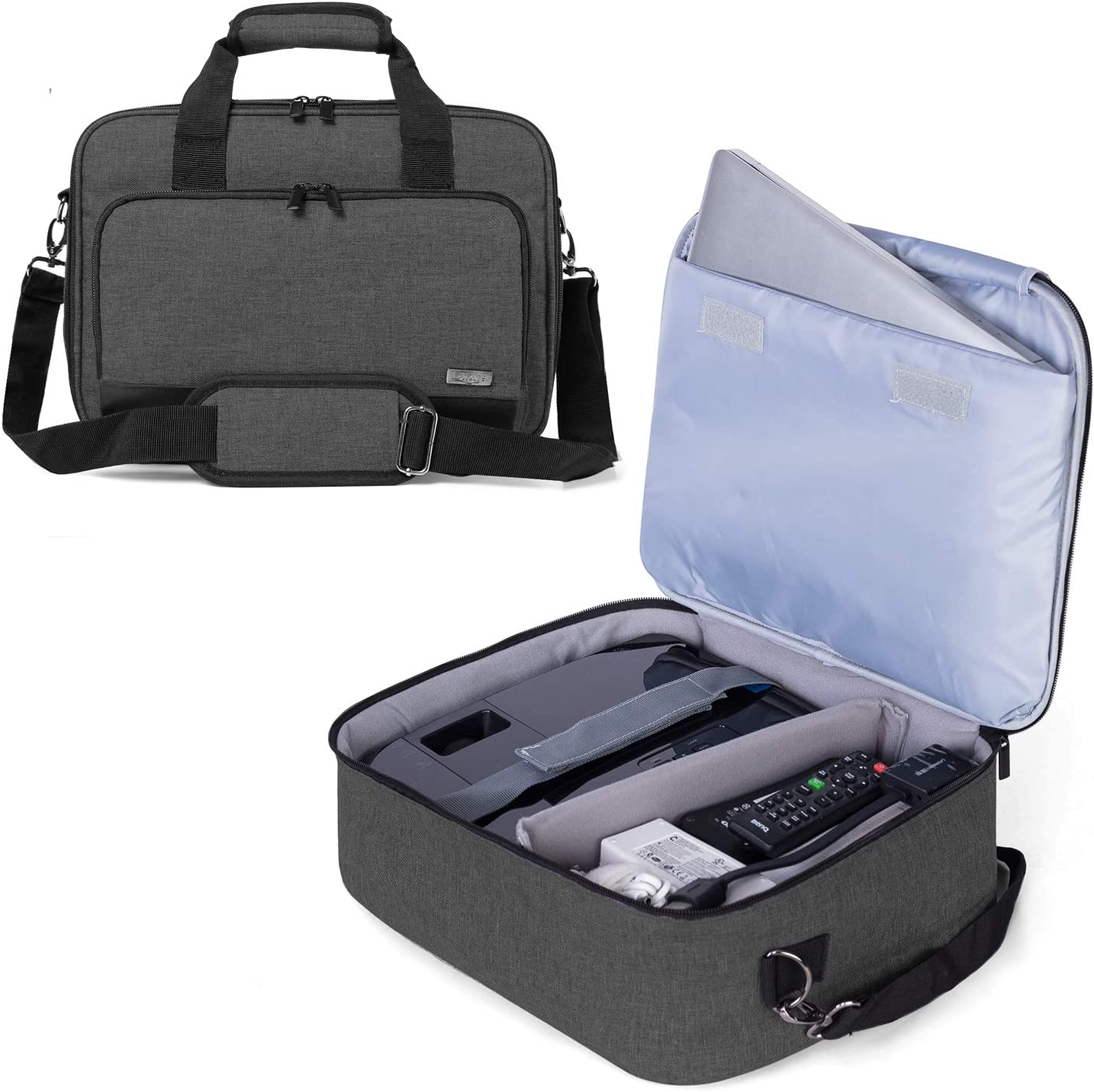 Luxja Projector Case, Projector Bag with Protective Laptop Sleeve, Projector Carrying Case with Accessories Pockets, Large(16 x 11.5 x 5.75 Inches), Black