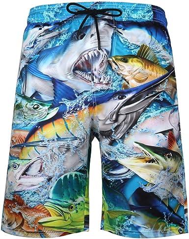 Holiday Pool Shorts ~ Med 2XL Mens Shark Print Swim Shorts