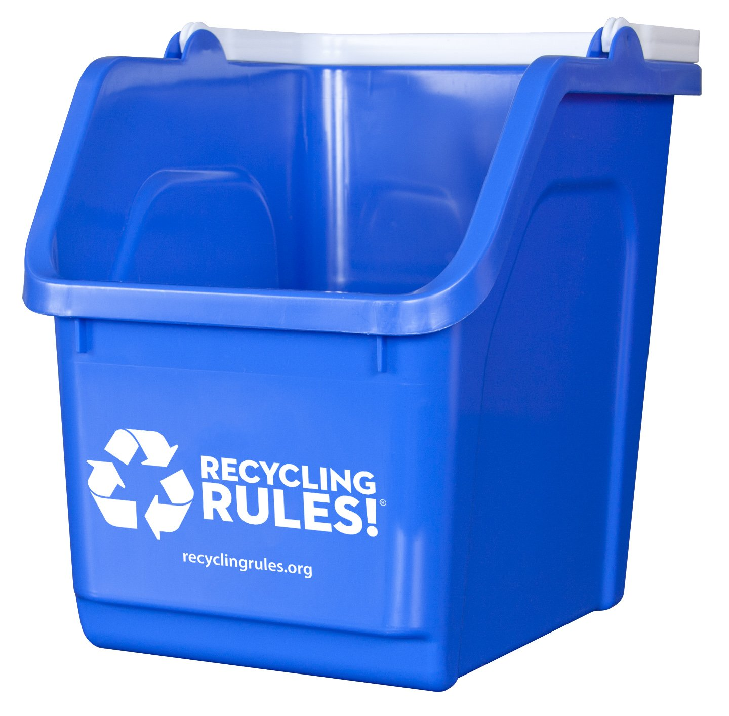 4 Pack Of Bins Blue Stackable Recycling Bin Container