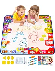 KIZZYEA Water Doodle Mat, Kids Large Aqua Coloring Mat, Mess-Free Drawing Mat with Neon Colors, Educational Toy for 2, 3, 4, 5, 6, 7, 8 Years Old Kids, Toddlers, Boys, Girls