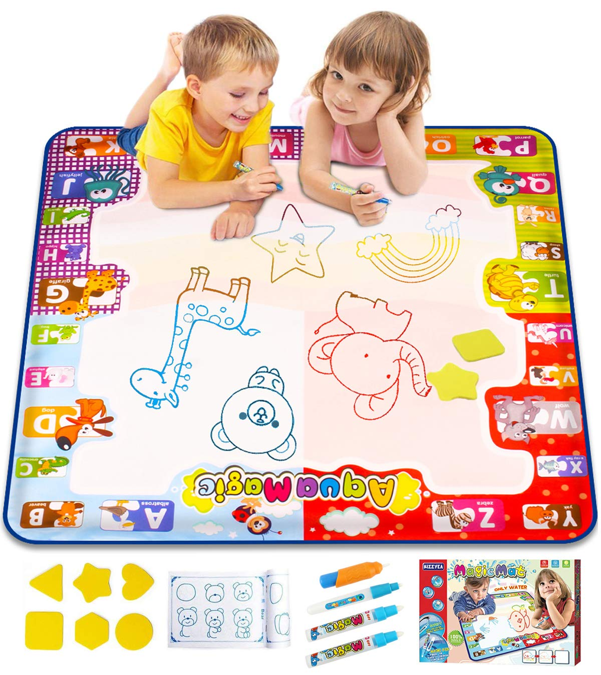 """KIZZYEA Water Doodle Mat,Kids Toys Large Aqua Drawing Mat Toddlers Painting Board Neon Colors,Gifts Girls Boys Age 2 3 4 5+ Year Old,30"""" X 30"""",4 Pens,Drawing Molds Booklet Included"""