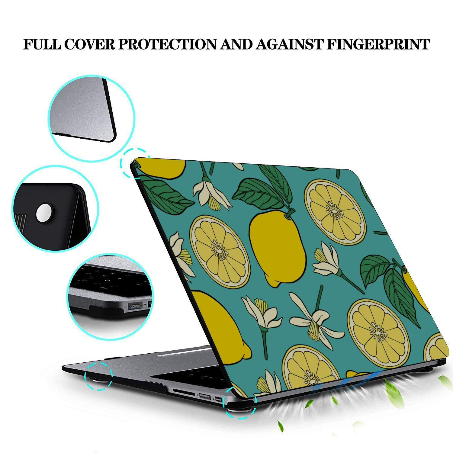 MacBook Case Summer Fashion Flower Fruit Lemon Plastic Hard Shell Compatible Mac Air 11 Pro 13 15 MacBook Air Laptop Cover Protection for MacBook 2016-2019 Version