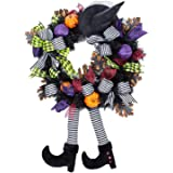 LUOWAN Halloween Decorations Wreath, Witch Skull Wreath Haunted House Decoration, Horror Party Pendant & Witch Wreath