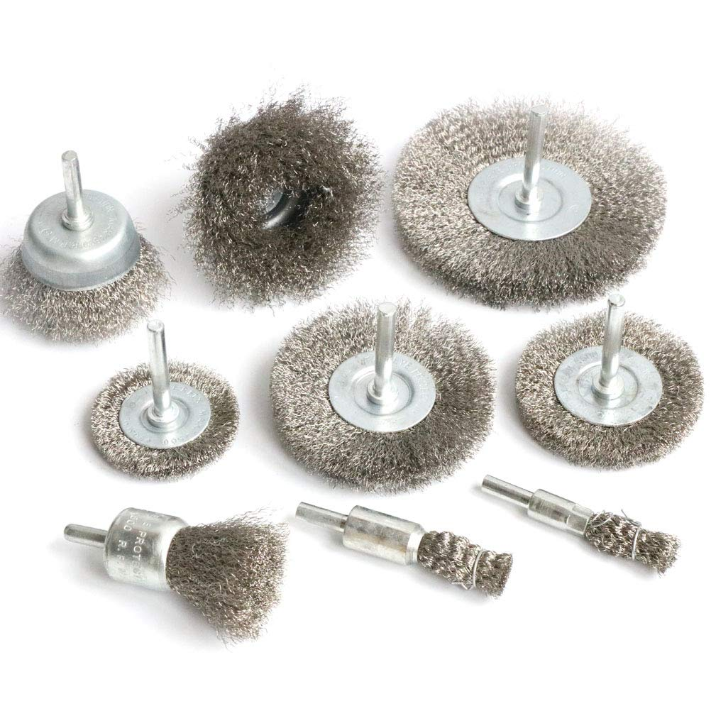 FPPO Stainless Steel Wire Wheel Brush & Crimped Cup Brush Kit for Drill,Fine Wire Diameter 0.0059 Inch,for Rotary Tool with 1/4-Inch Shank,Removal of Rust,deburring,paint (9)