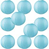 "WYZworks Round Paper Lanterns 10 Pack (Light Blue, 16"") - with 8"", 10"", 12"", 14"", 16"" option"