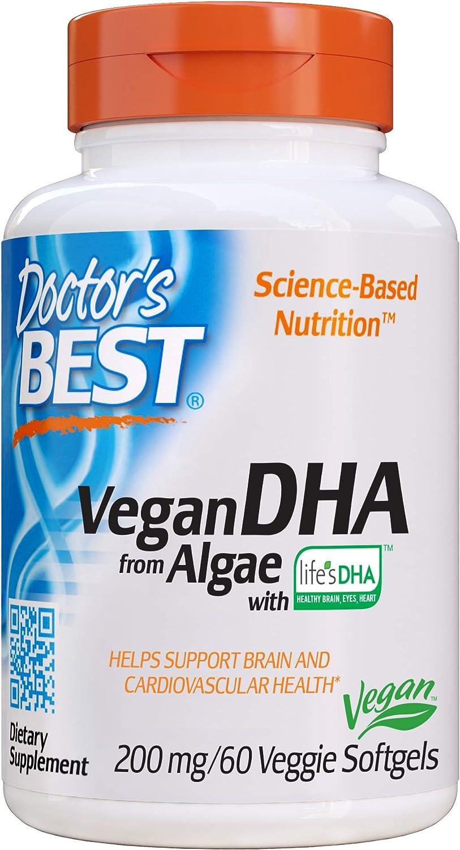 Doctor's Best Vegetarian DHA from Algae, Non-GMO, Vegan, Gluten Free, 200 mg, 60 Softgels