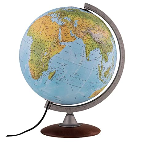 CONTEMPORARY SILVER LIGHT UP ROTATING GLOBE ON METAL BASE ATLAS TABLE ORNAMENT